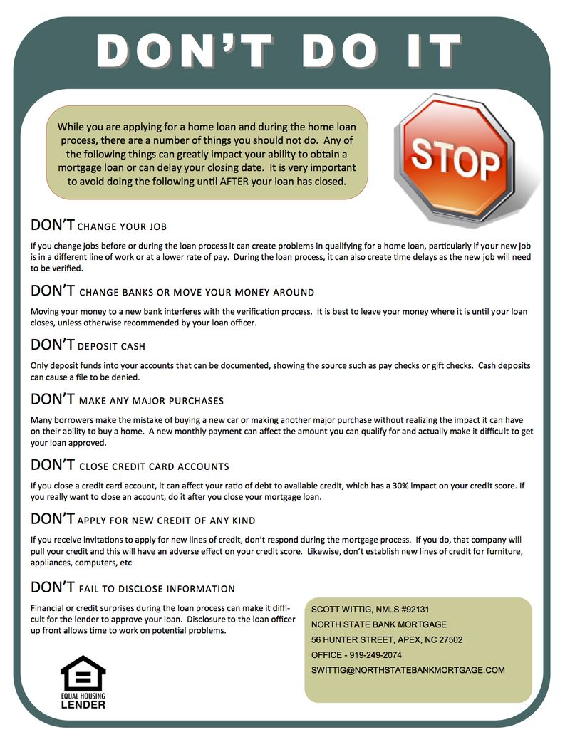 Don't Do It! - Mortgage Don'ts